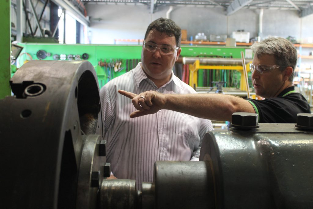 Dawson MP George Christensen takes a tour of Mackay Conveyor Equipment's Paget workshop with managing director Jason Kelly.