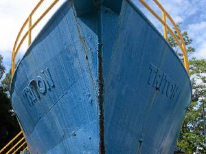 Why is there an old prawn trawler sitting at Bundy TAFE?