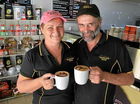 Glasshouse Grind Cafe that serves coffee made with camel milk. Business owners Sharon Toohey and Danny Routson.