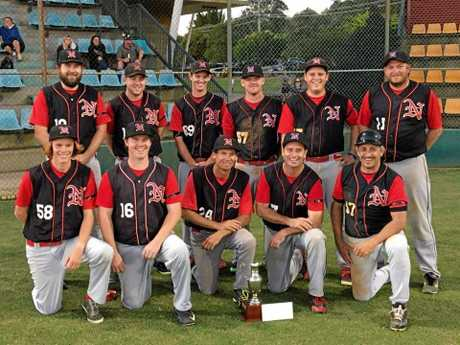 FIRST SILVERWARE: The Norths Major League team after their win at Albert Park, Lismore, on Saturday.