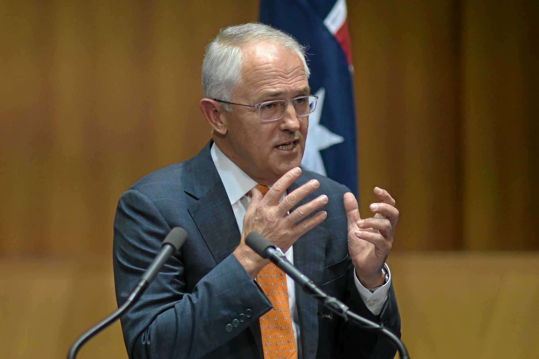 Australian Prime Minister Malcolm Turnbull speaks to the media during a press conference at Parliament House in Canberra, Sunday, May 8, 2016. Mr Turnbull today asked the Governor-General to dissolve both Houses of Parliament to call a double dissolution election for July 2, 2016.  (AAP Image/Lukas Coch) NO ARCHIVING