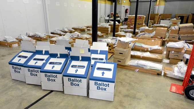 EVERY VOTE COUNTS: Uncounted ballot boxes at the Lismore Returns Office during a previous election. Photo Cathy Adams / The Northern Star