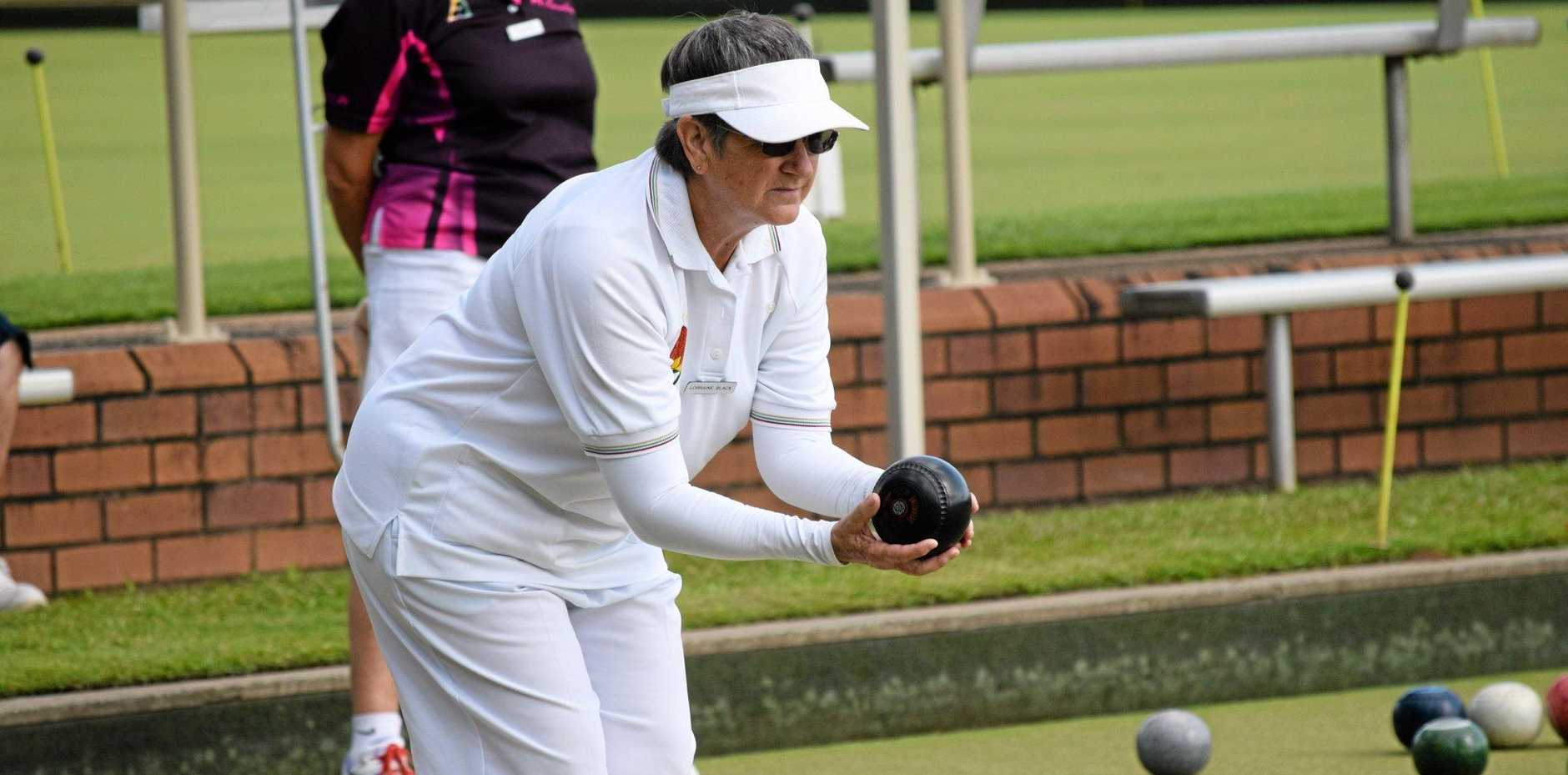 Casino RSM bowler Lorraine Black at the annual Fiesta Fours at the Lismore Heights Bowling Club yesterday.