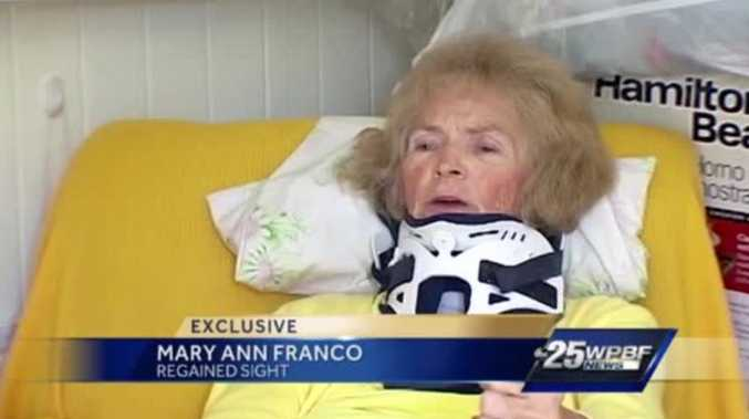 Mary Ann Franco, 70, can now see again after the blind woman suffered a horror fall in her home
