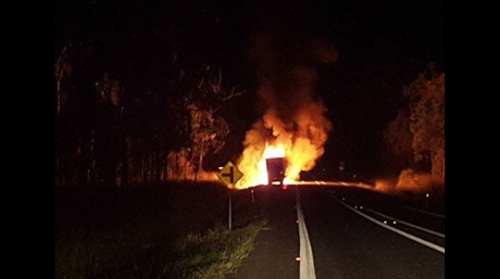 The blaze raging on the Bruce Hwy, just south of Miriam Vale.