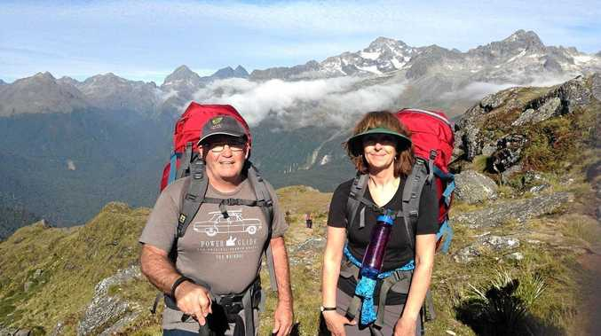 ALZHEIMER'S QLD TREK. Gympie's Karen and Andy McSweeney on the Alzheimer's Australia (Qld) fundraising adventure across New Zealand's Routeburn Track.