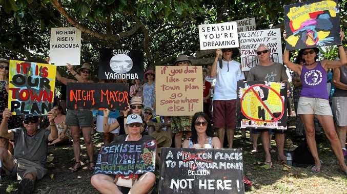 Protestors in 2014 were against Sekisui's original plan for Yaroomba.