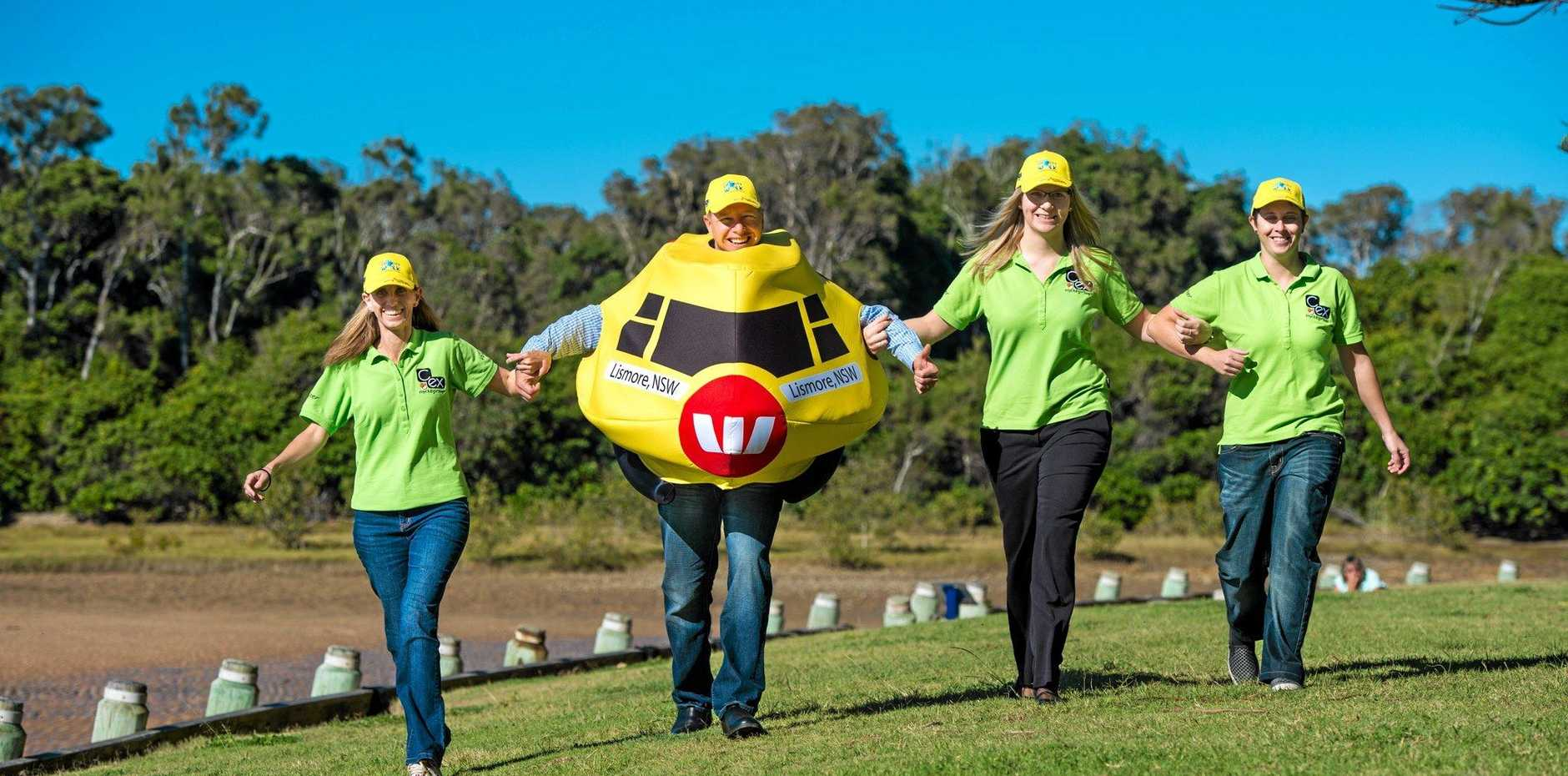 promo cancer walk that will start at Moonee creek Reserve,Lto R: Coffs C.ex Coffs Coast Charity Walk crew Fiona Pike, Sarah Pryor and Jes King with Zeke Huish (Fundraising Manager) for the Westpac Life Saver Rescue Helicopter .Photo Trevor Veale / Coffs Coast Advocate