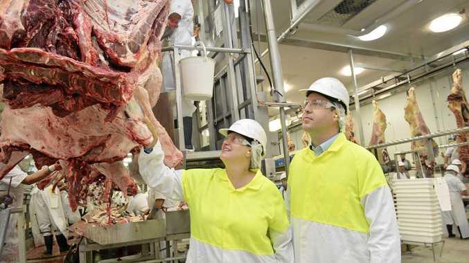 LNP candidate Teresa Harding and Minister Steven Ciobo MP vist the JBS Meatworks.