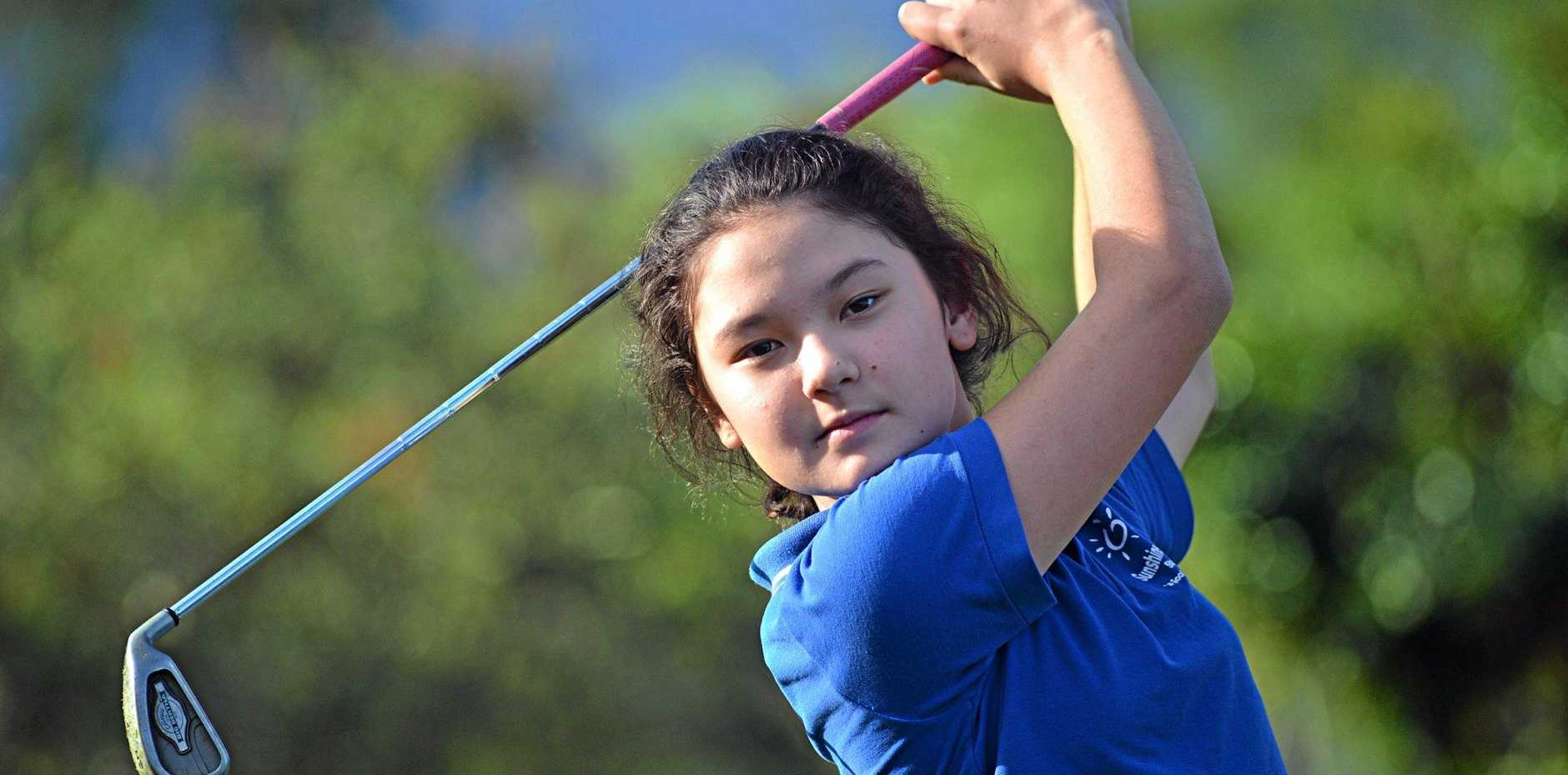 Naomi Moore, who's just 11, recently won the Noosa/Tewantin ladies club championships.   Photo: Warren Lynam / Sunshine Coast Daily