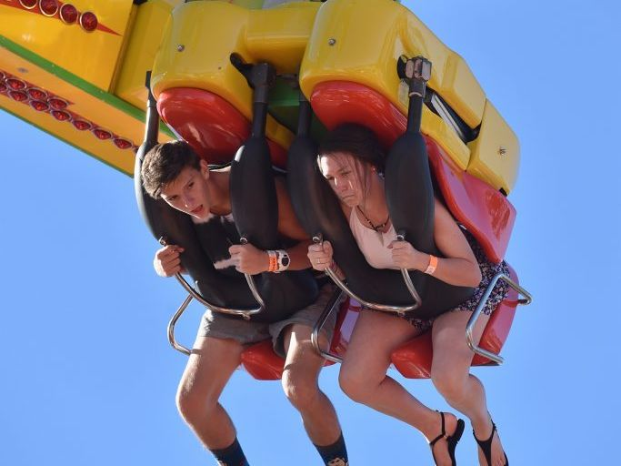 Fraser Coast Show - Jayden Phillips and Jessica Hewson from Maryborough on the Power Surge. Photo: Alistair Brightman / Fraser Coast Chronicle