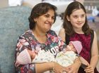NEW BEGINNINGS: Mum Heba Saloma with 9-day-olds Mariz (left) and Georgia Khalil and ( on right ) 9-year-old Gabriella Byatt . Wednesday May 11 , 2016.