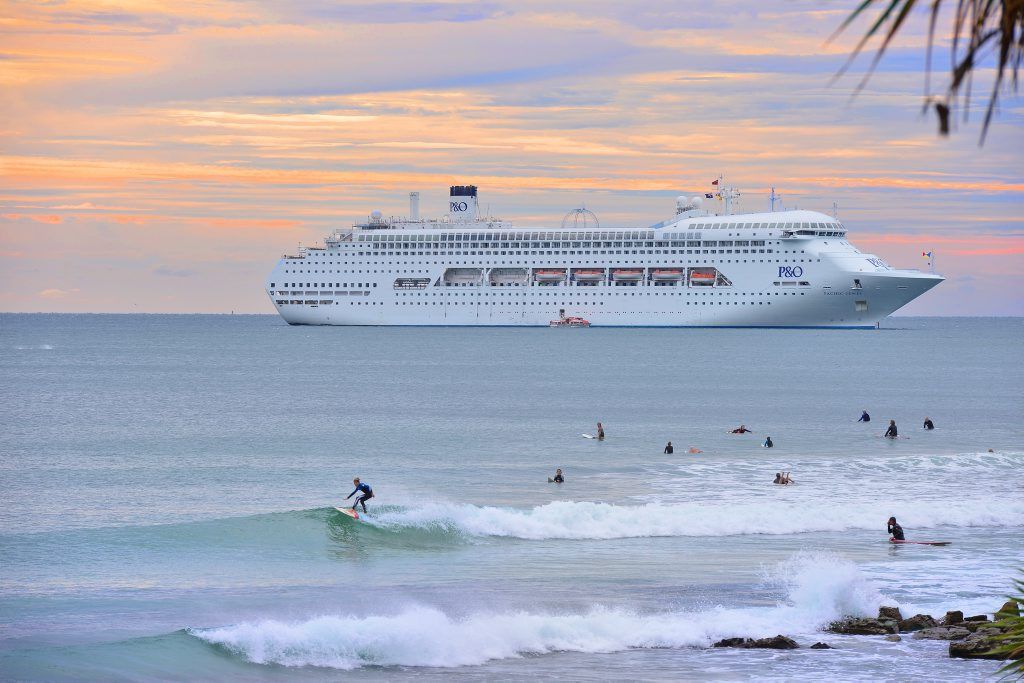 P & O's Pacific Jewel moored off Alexandra Headland.