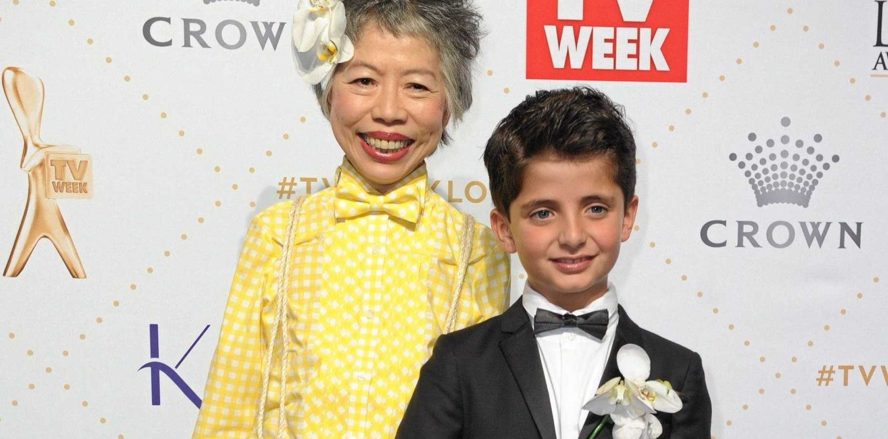 Gold Logie nominee and fashionista Lee Lin Chin and her date Charlie.