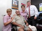 IN GOOD HEALTH: Sullivan Nicolaides Pathology's Caz Symons, Elize Van Wyk and Toowoomba and Darling Downs laboratory manager Greg McKee, with regular patient Bob Davis.