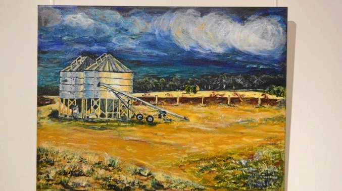 COUNTRY INSPIRATION: Storm Brewing Over Wonga Silos, by Maree Cameron, at Gallery 107.