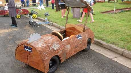 STONE AGE: The Hurford Hardwood billy cart that must have been loaned to them by Fred Flintstone.