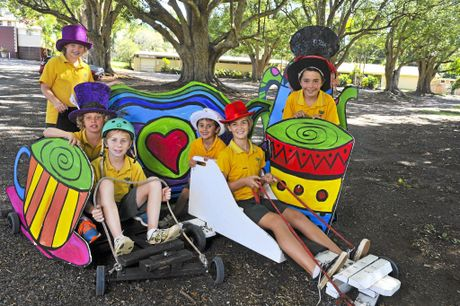 LR- Olivia Chadwick, Dylan Kennedy, Riley Milsom, Remy Bisogni, Georgia Sproul, Harry Spiteri, getting ready for the  Mad Hatter's Derby Tea Party coinciding with the Lion's Club's annual Bangalow Billycart Derby.   Photo : Mireille Merlet-Shaw/The Northern Star