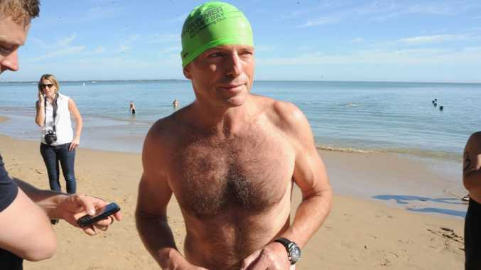 Tony Abbott at Shelly Beach prior to the 1.6 km Beach to Club ocean swim. Photo: Karleila Thomsen / Fraser Coast Chronicle