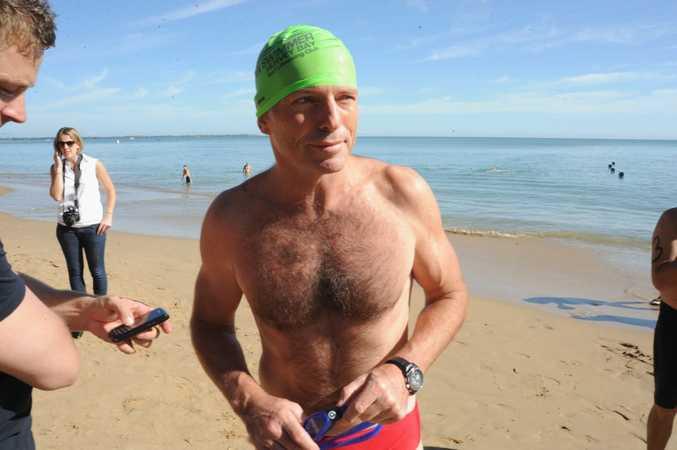 Tony Abbott at Shelly Beach prior to the 1.6 km Beach to Club ocean swim. Photo: Karleila Thomsen / Fraser Coast Chronicle