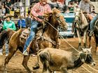 Shane Kenny and partner Liam Davison took out the team roping event in a time of 5.95 seconds at the Nebo Rodeo.