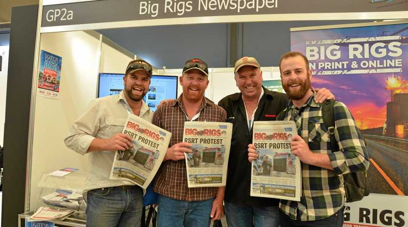BIG DAY: Todd, Toby, Craig and Tyson Bowden from South Australia loving the 2016 Melbourne Truck Show.