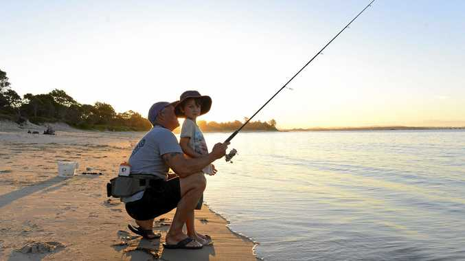 OUT ON THE SHORES: Father and son duo Mark and Brody Pirie out fishing on Whiting Beach at the weekend.