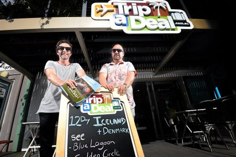 TripADeal co-founders Norm Black and Richard Johnston outside the company's Byron Bay industrial estate headquarters.