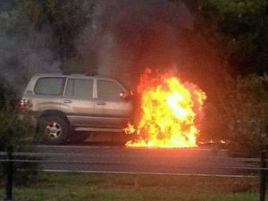 VIDEO: Four wheel drive on fire on Pacific Highway