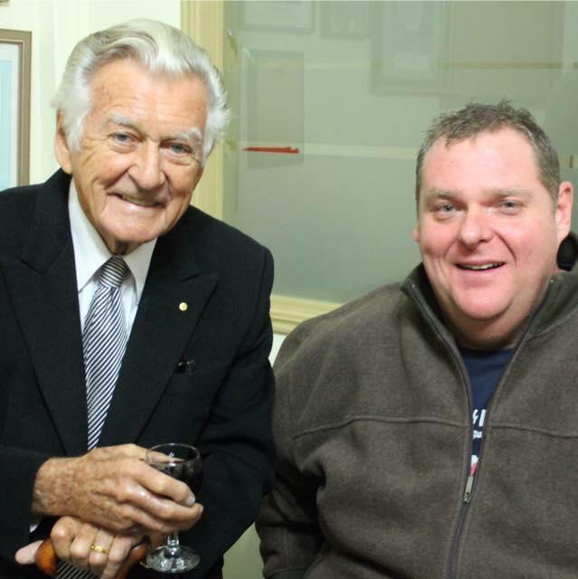 Former Australian Prime Minster Bob Hawke and Toowoomba's Brendan Bogle.