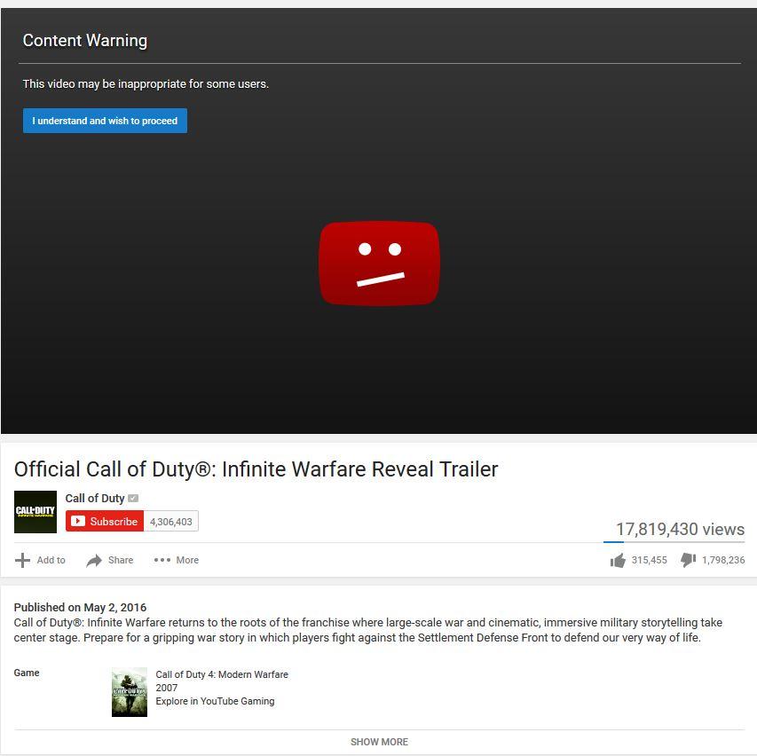 Game makers of Call of Duty: Infinite Warfar trailer has 1.8million dislikes