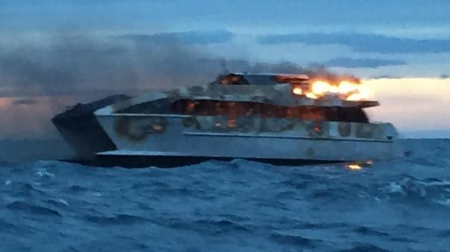 The Spirit of 1770 up in flames. Photo: Courier Mail
