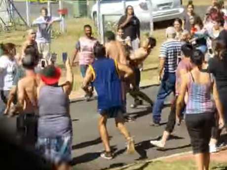 The brawl in Festival St, Toowoomba.