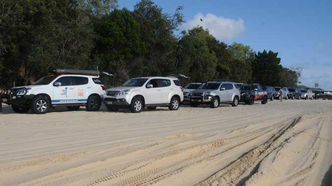 Isuzus Parking Only: The full group of I-Venture vehicles on Moreton Island. Photo Gary Worrall / Gatton Star