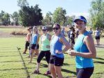 The women's 30-35 years 100m sprint at Fitastic. Photo Rebekah Yelland / CQ News