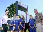 Amberley District State School captains (front) Nick May and Samantha Bouzaid, vice-captains Ayva Mason and Riley Woods with Sekisui House development manager Frank Galvin (left), state sales manager Scott Blaney, School principal Simon Boyce and Cr Charlie Pisasale with the new sign at the school.