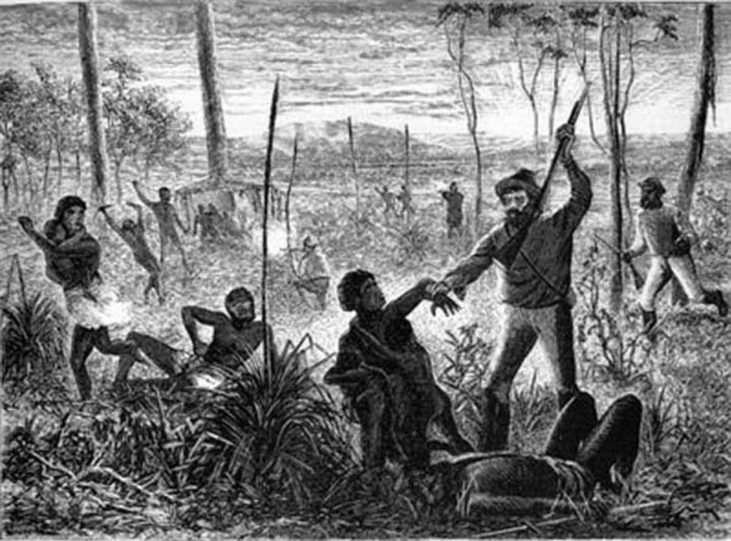 A 19th century illustration of a settler vigilantes in Queensland. Image: Illustrated Christian Weekly 24 Dec 1880