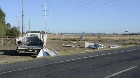 Emergency services at the scene of a two-truck crash on the Warrego Hwy on the Oakey bypass.