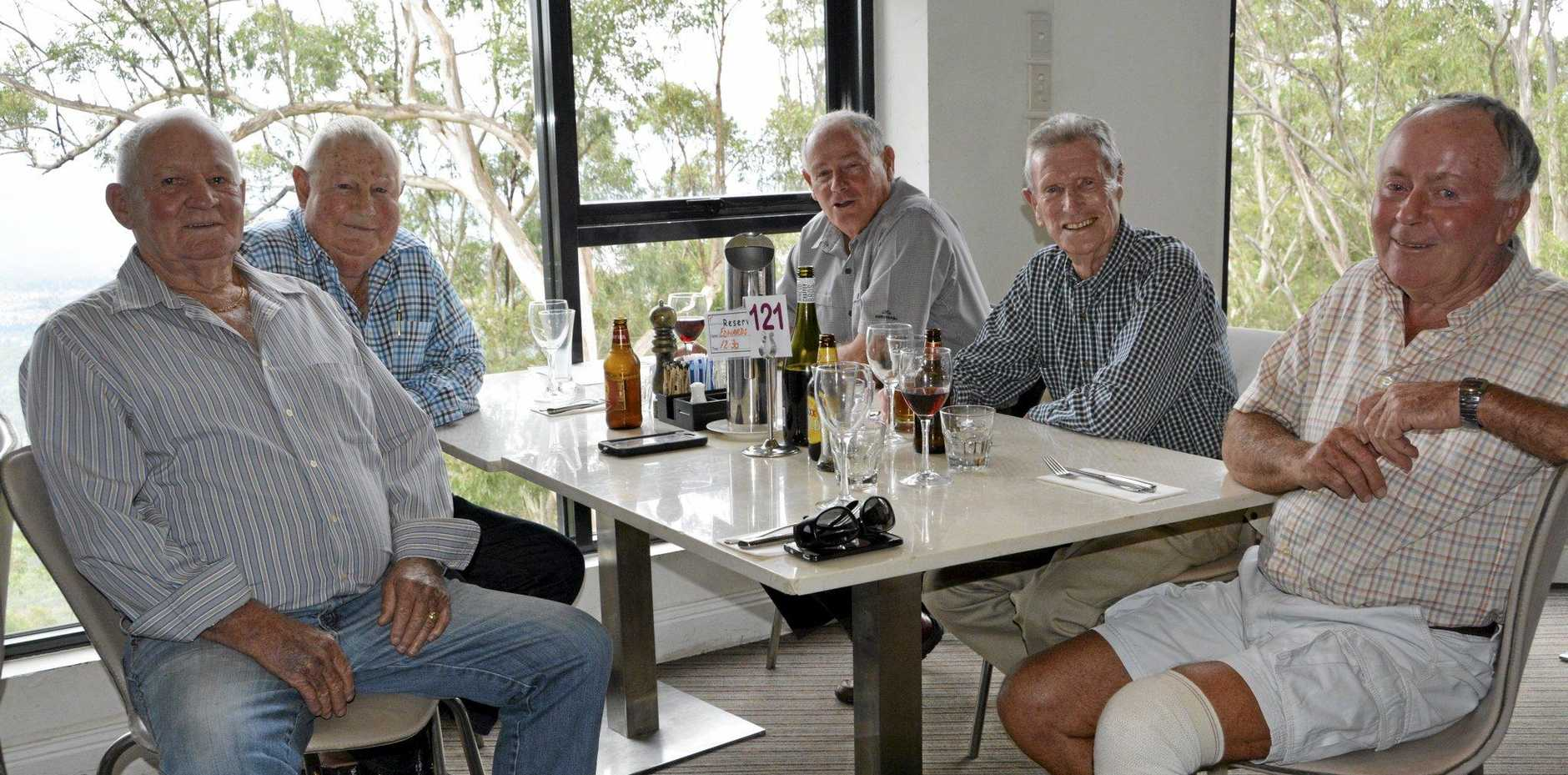 GREAT MATES: Enjoying their April lunch are members of the Old Farts Club (from left) Tom Sweeting, Reece Edwards, Ross Miller, Tom Bence and Steve Quinn.