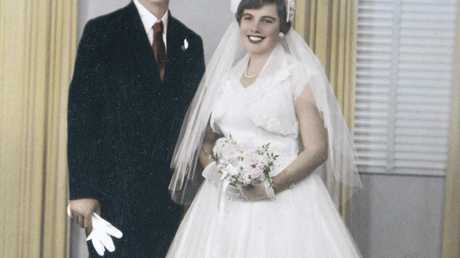 WEDDING BELLS: Ian and Lesley Hoskin were married at the Holy Name Church in Toowoomba on May 12, 1956.