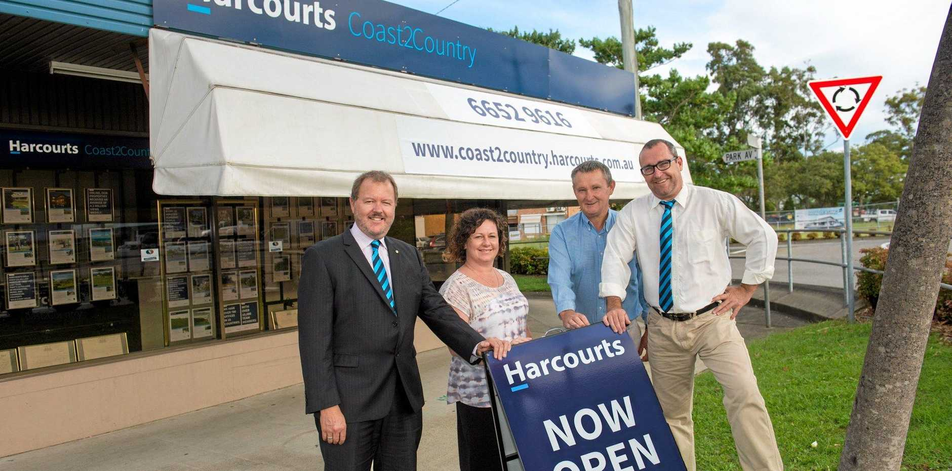 THE TEAM: Harcourts Coast 2 Country Real Estate staff Mike Squire, Jodie Ainsworth, Jim Auld, and principal Peter Creenaune.