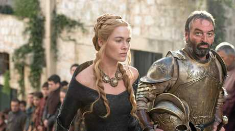 Lena Headey and Ian Beattie in a scene from the fifth season of the TV series Game of Thrones. Supplied by Foxtel.