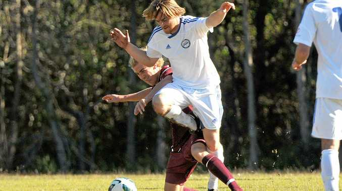 Sam Ireland in action during a stint playing for Urunga a few years ago. Ireland, who has also spent time with Goonellabah, will line up for Bangalow against the Hornets this afternoon before taking on his other old club when the Bluedogs tackle Urunga in the FFA Cup next weekend.