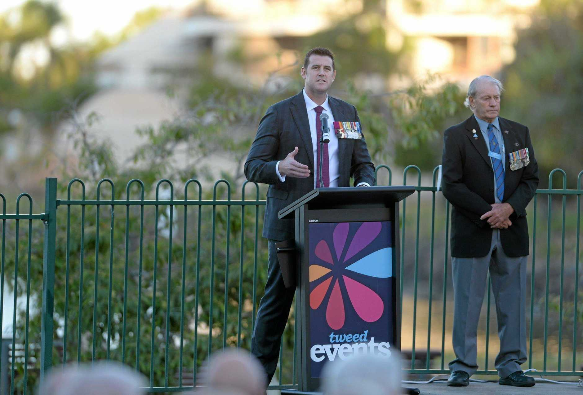 Victoria Cross recipient Ben Roberts-Smith, gives a speech at the commemorative service for the battle of Coral-Balmoral.