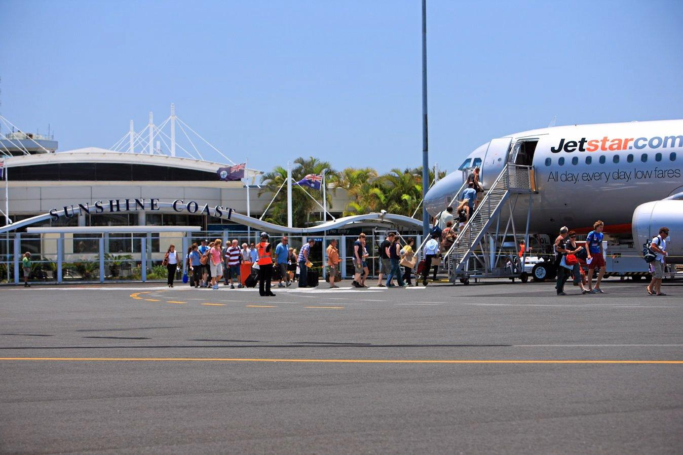 A Jetstar flight arrives on the Sunshine Coast