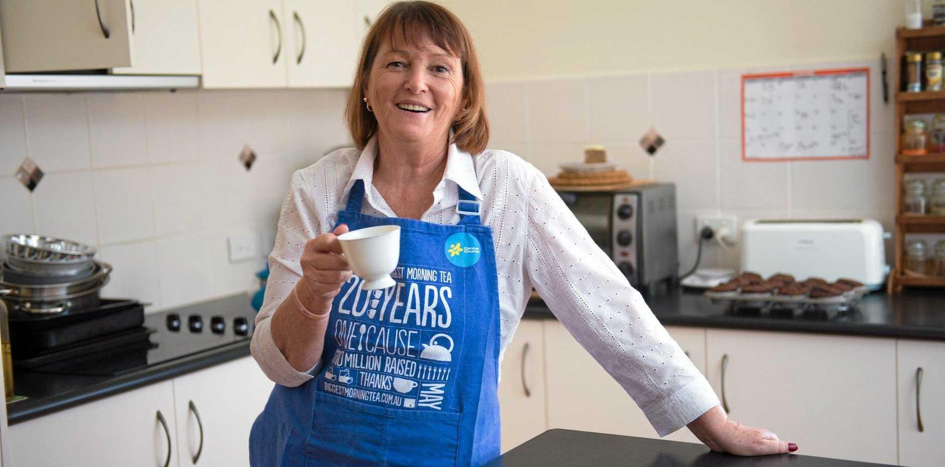 ALL SET: Breast Cancer Buddy and cancer survivor Beryl Fletcher prepares for the Biggest Morning Tea.