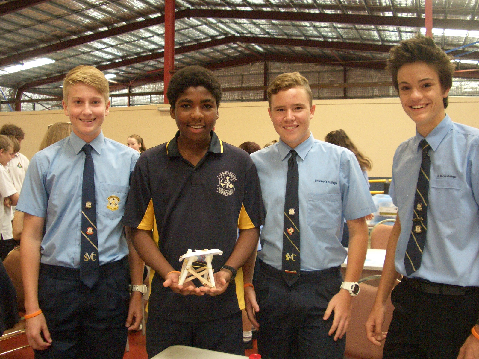 Laird McKay, Somtochukwu Ibe, Connor Rankin and Patrick Mushan with their design at the challenge.
