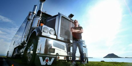 Phil Rudd says his huge racing car transporter truck, parked outside his Tauranga home, is his