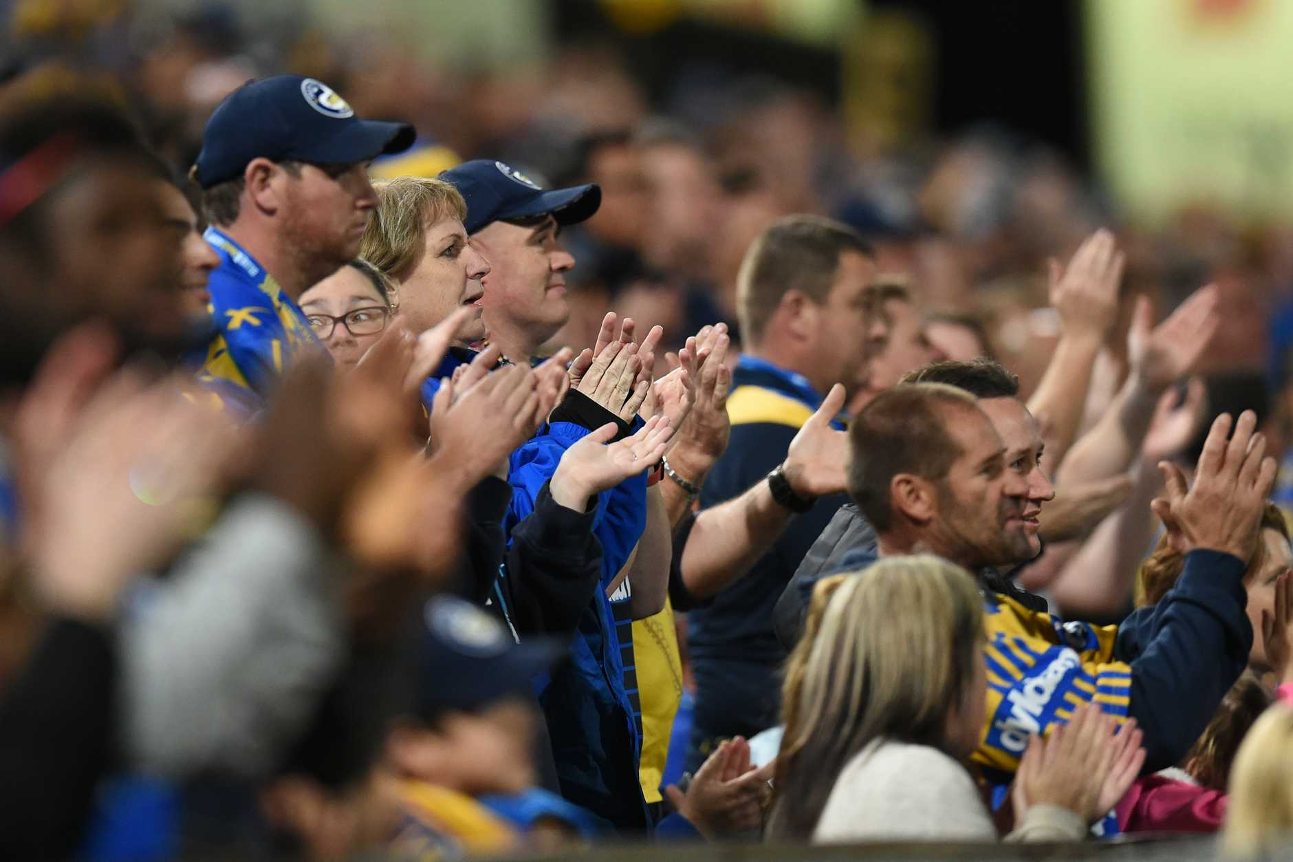 Eels fans give Nathan Peats a worthy send-off, though he wasn't there. Photo: AAP Image.