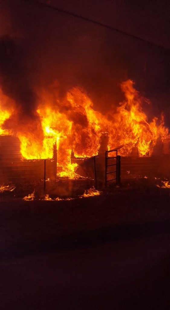 The fire at Warren Thatcher's home.